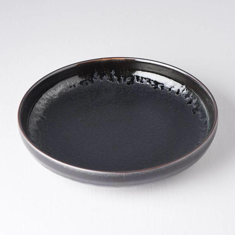 Matt W Shiny Black Edge high rim plate 22cm x 4.5cm