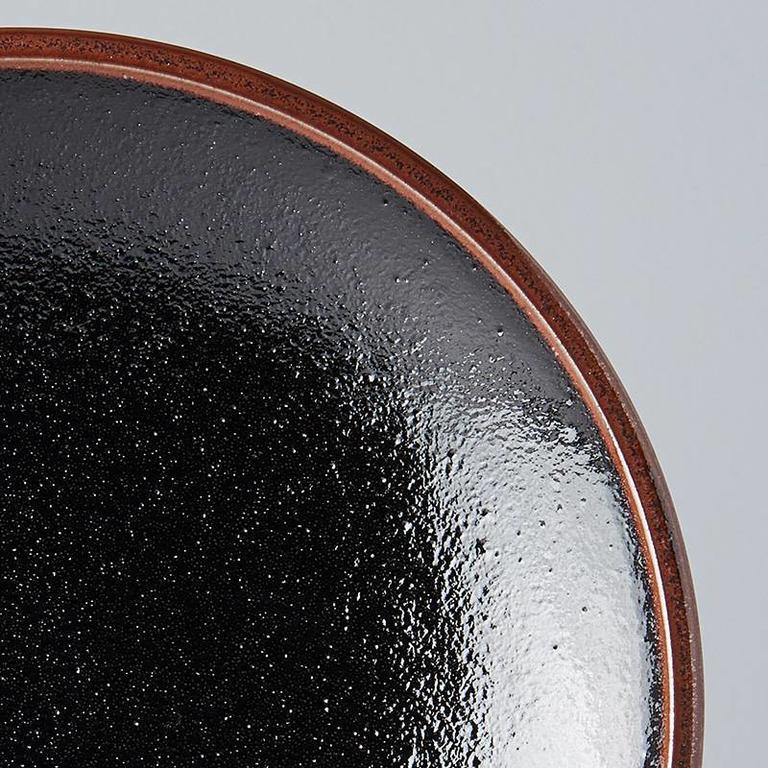 Tenmokku round side plate 20cm