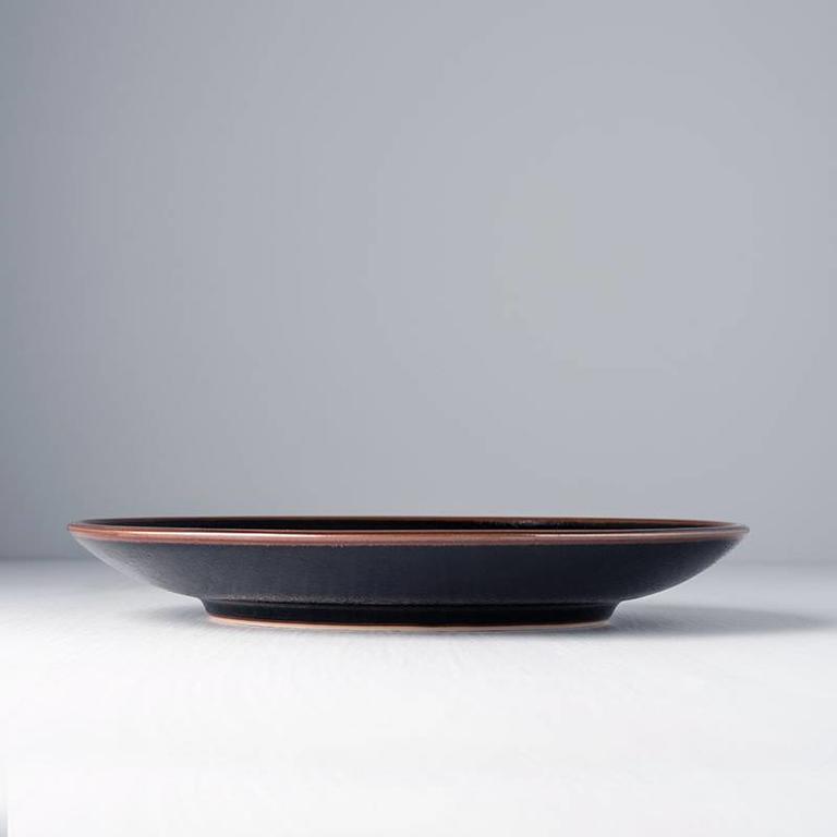 Tenmokku round dinner plate 25cm