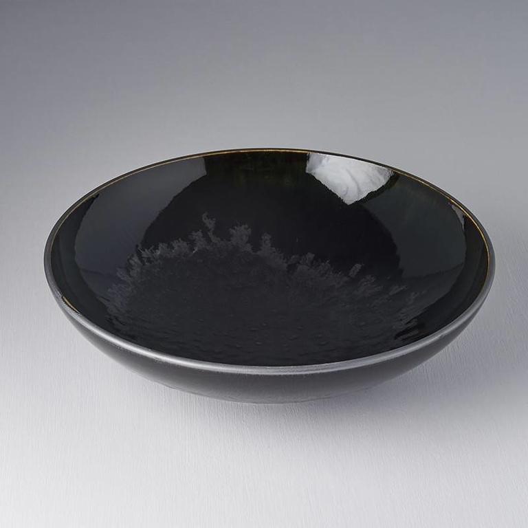 Matt W' Shiny Black Edge - Open Shape Serving Bowl 28cm