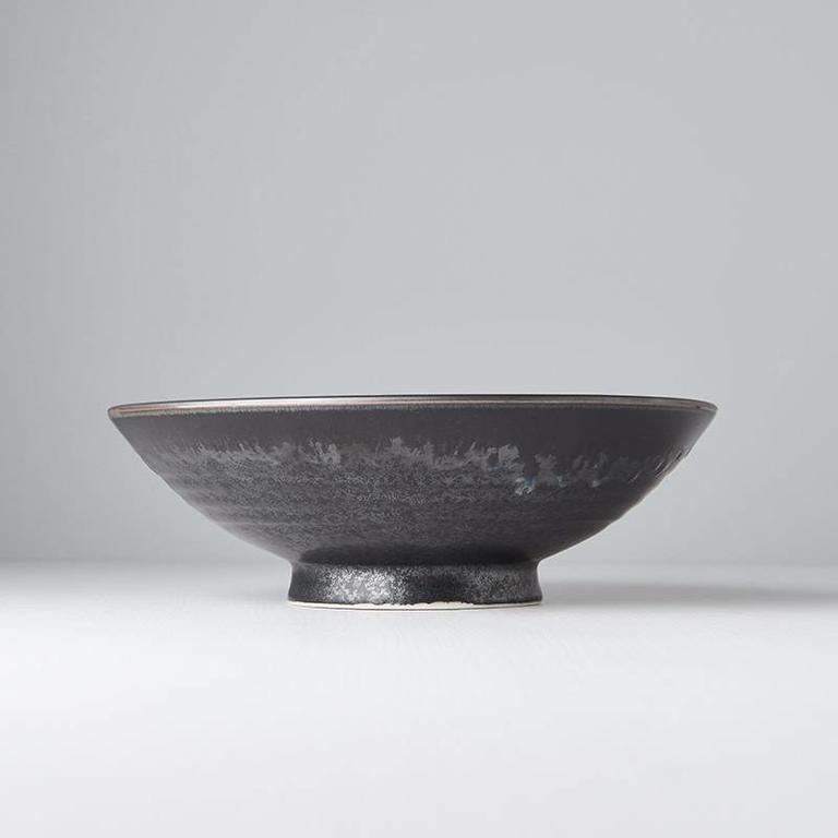 Matt W' Shiny Black Edge ramen bowl 25cm