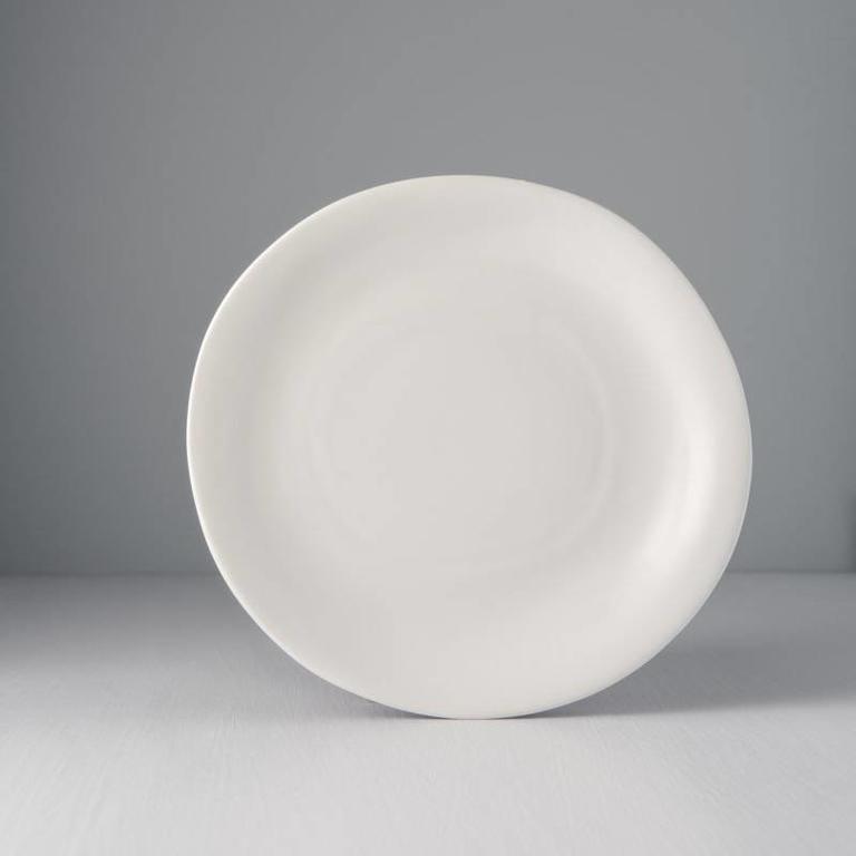 Modern Squashed Matt White Dinner Plate 26cm