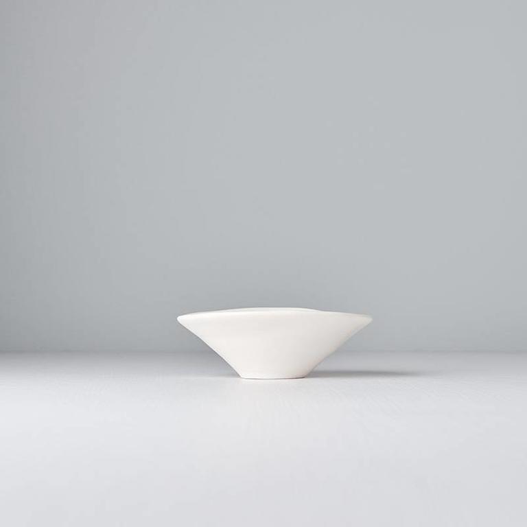 Modern Squashed Matt White - Small Bowl 13cm