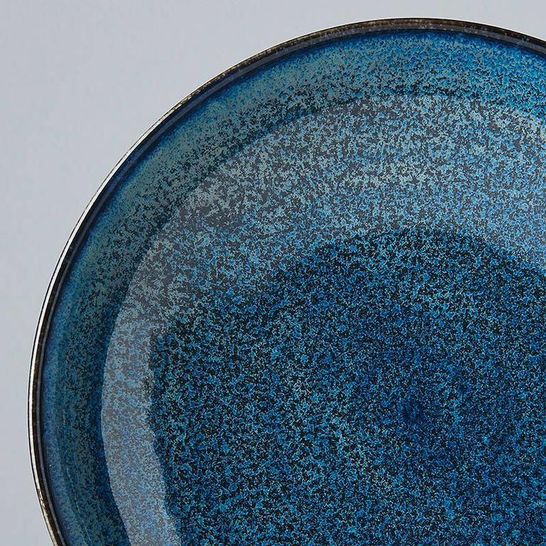 INDIGO BLUE SHALLOW OPEN BOWL 21D 5H