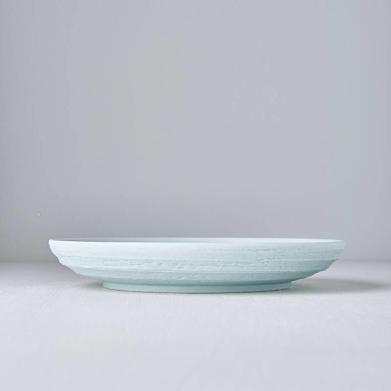 Plate Round Turned Edge Mattt Aqua 25cm