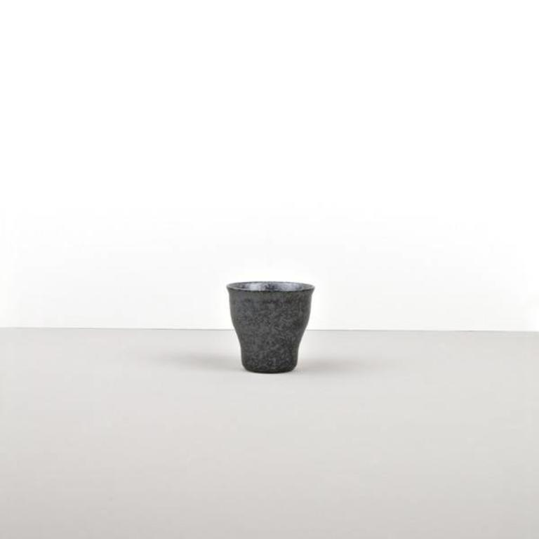 Craft Black Teacup Fluted Shape With Narrow Base
