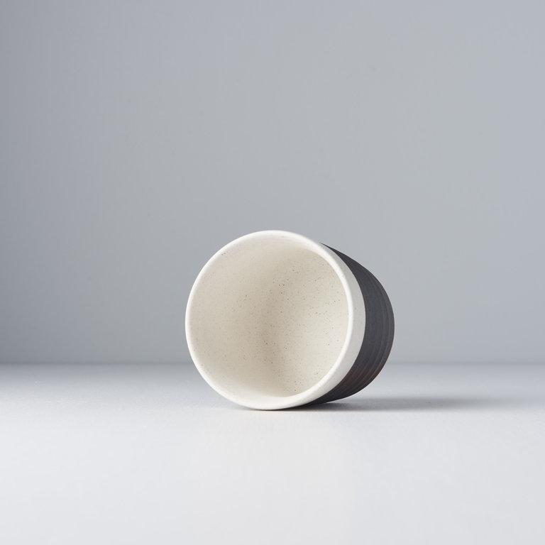 Grooved Mug White & Black Base 9cm D x 8.5cm H - 325ml