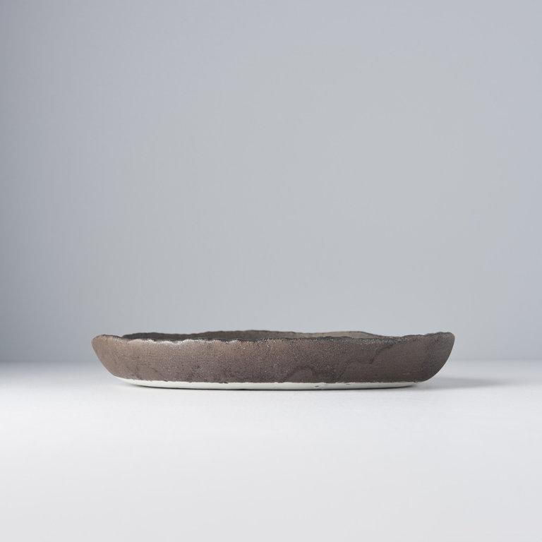Stone slab plate Onigiri high rim 25cm x 3.5cm