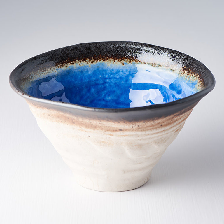 Cobalt Blue Ikebana bowl deep unusual shape 22cm x 20cm x 12cm