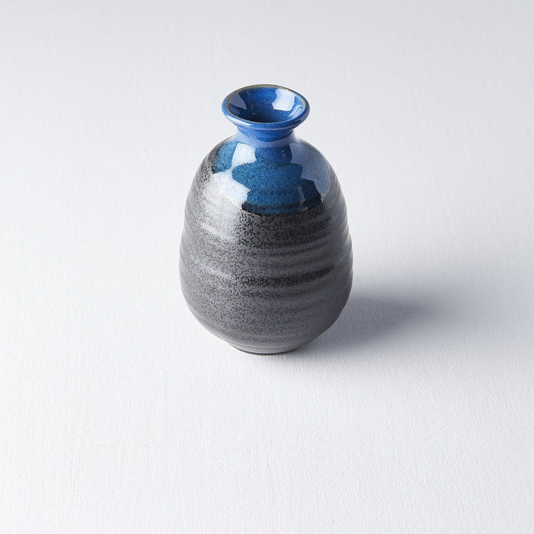 Sake jug black with bright blue top section 12cm 300ml