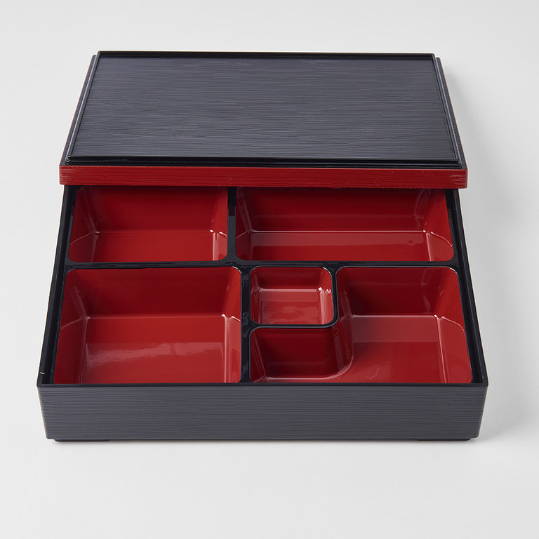 Obento black outer with red inner 5 sections 27X21.5X 6H