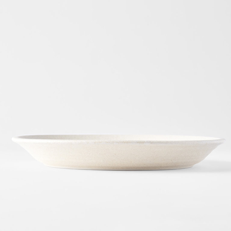Recycled white sand plate round with high rim  27.5D x 3.5H