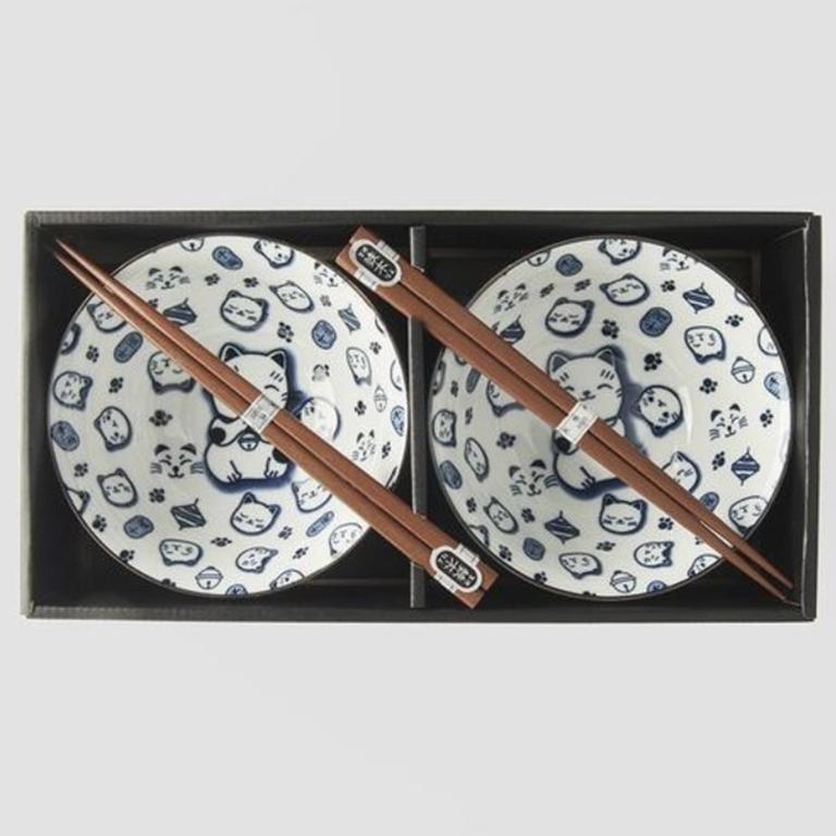 Boxed Bowl Set 2 piece blue Maneki Cat 15cm