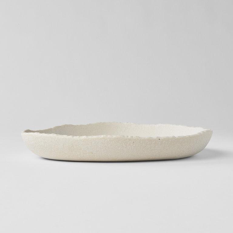 Shell White slab onigiri plate high rim 25cm 3.5cm