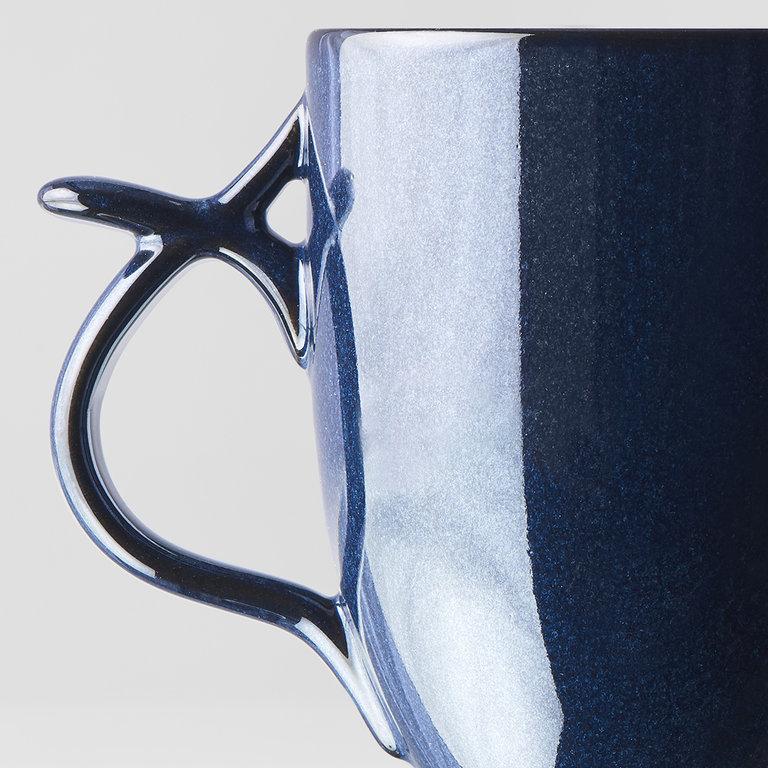 Mug with handle & thumb rest bright blue 11cm