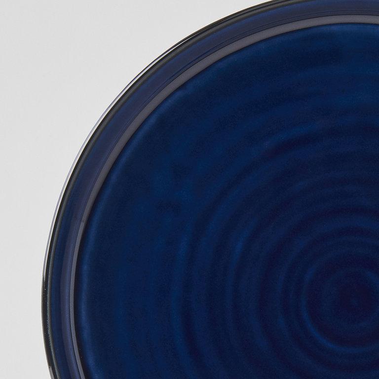 Sapphire blue round plate with high rim 25cm x 3cm