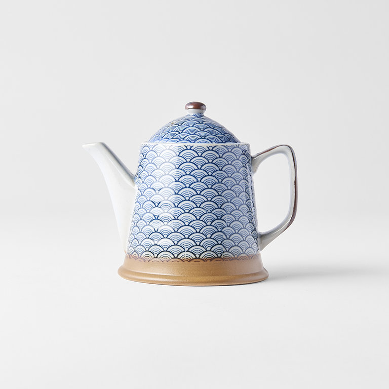 Indigo wave design teapot 400ml