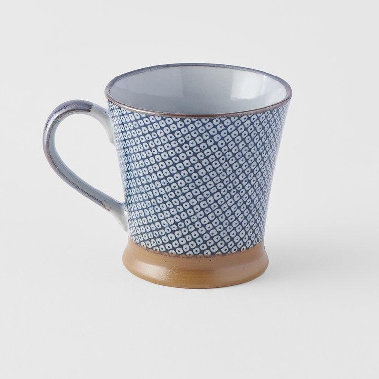 Indigo wave design mug with handle 9cm 250ml