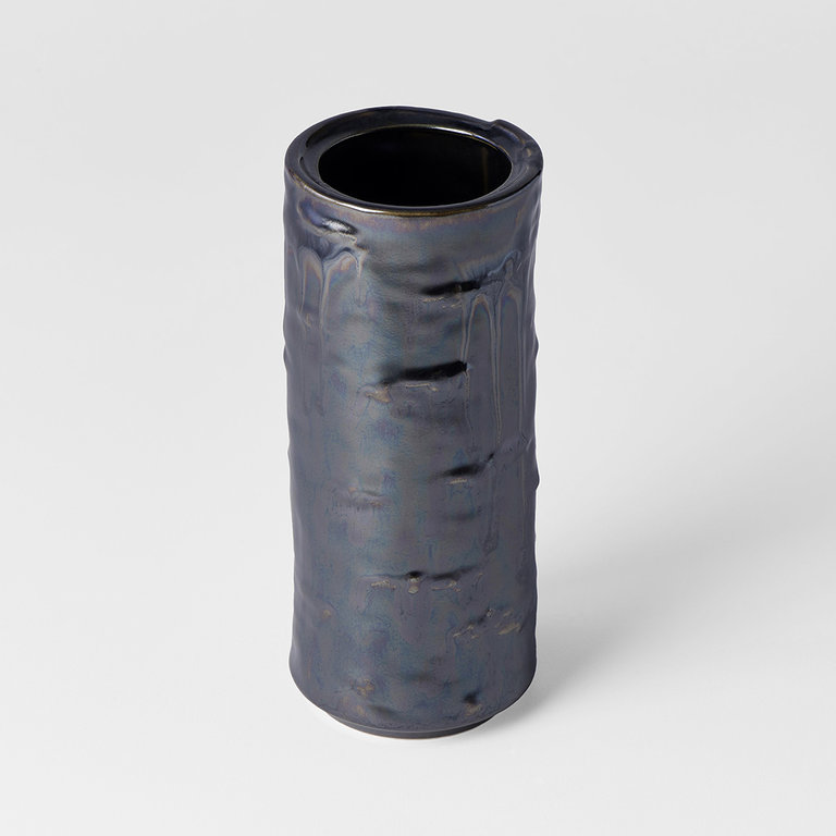 Vase cylinder shape black with silver drip 19cm