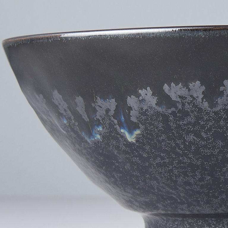Matt W'Shiny Black Edge udon bowl 20cm 8.5cm