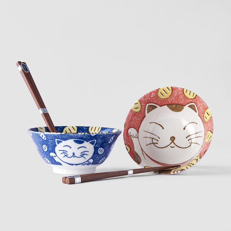 Boxed Bowl set 2 piece Manga Maneki Bowl 15cm