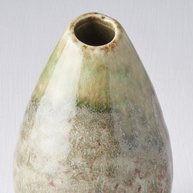 Vase mottled green teardrop shape 10cm
