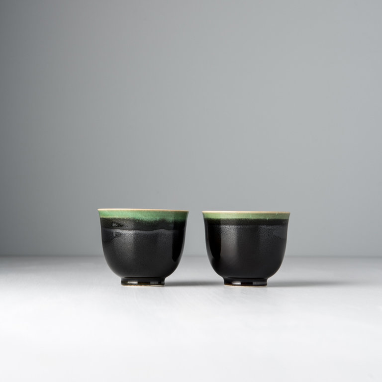 Teacup black with bright green drip 6.5cm