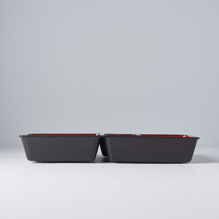 Obento black Inner section only with red inner 5 sections 26cm x 20cm x 4cm