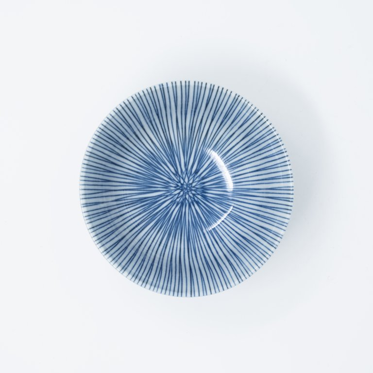White bowl with blue vertical lines 13cm x 6.5cm