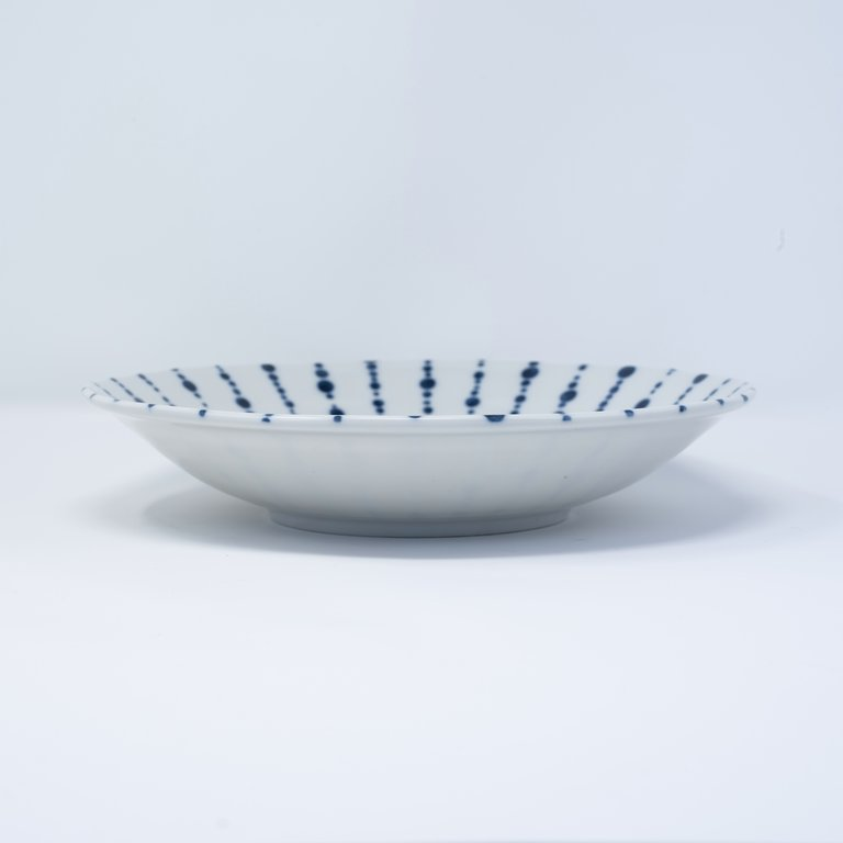 Bowl white and blue lines with dots 22cm x 4.5cm