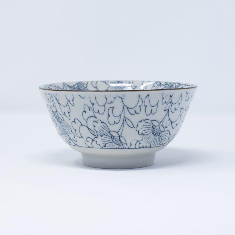 Stylised Flower design bowl, blue on white 13cm  x 7cm