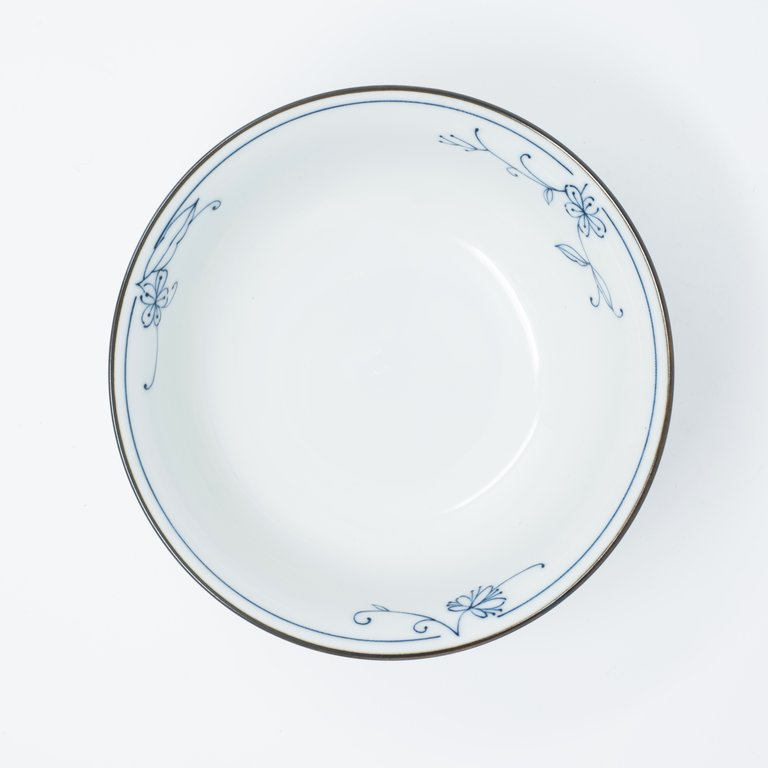 Delicate blue floral pattern white fluted bowl 18cm x 8cm