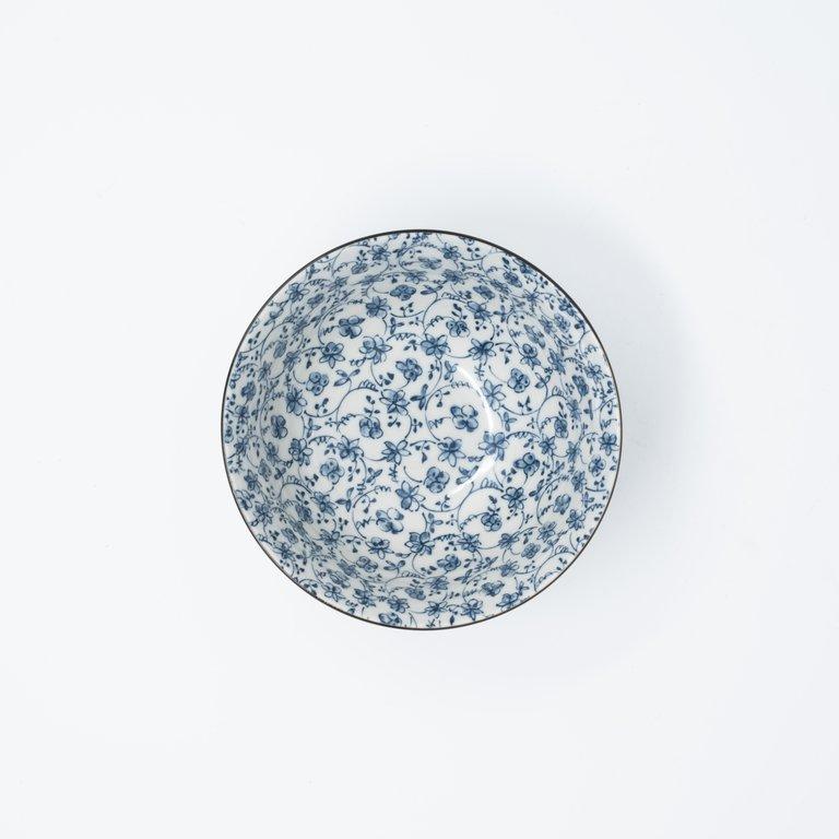 Floral design bowl blue on white 13cm x 7cm