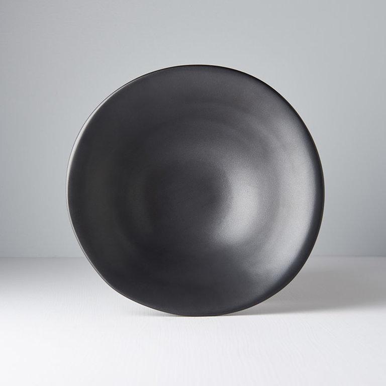 Modern Squashed Matt Black Large Bowl 24cm