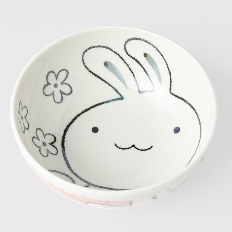 Kids bowl rabbit design with pink outer 16cm
