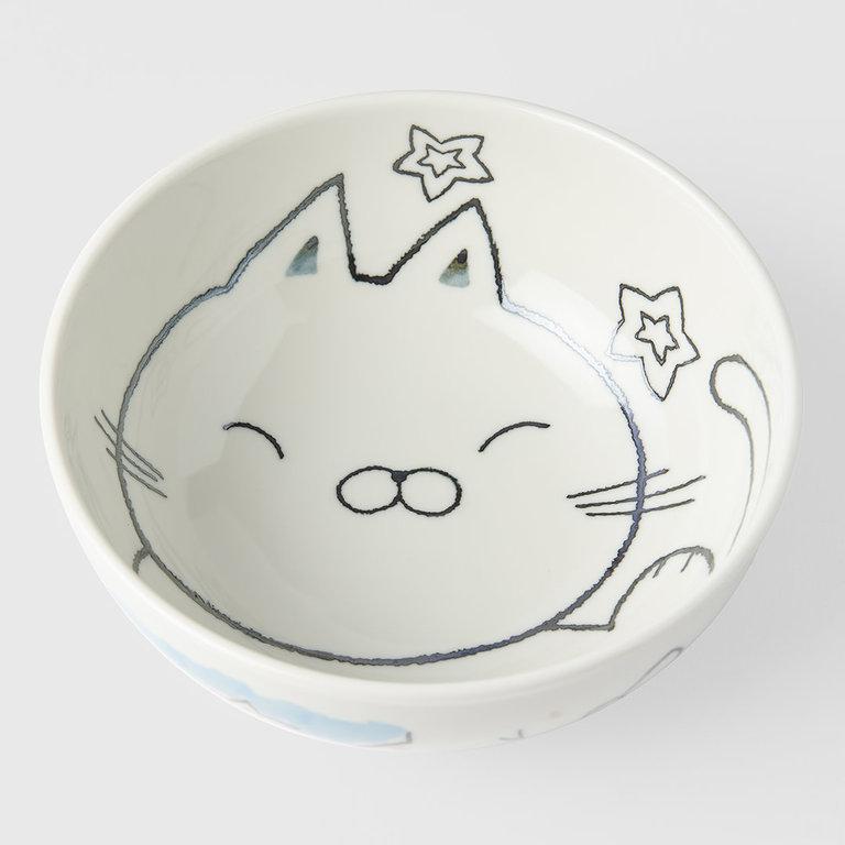 Kids bowl cat design 16cm blue outer