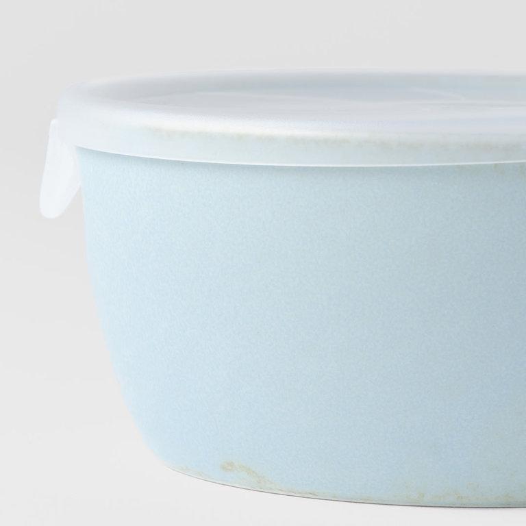 SODA BLUE LIDDED BOWL PLASTIC LID 13D 6H