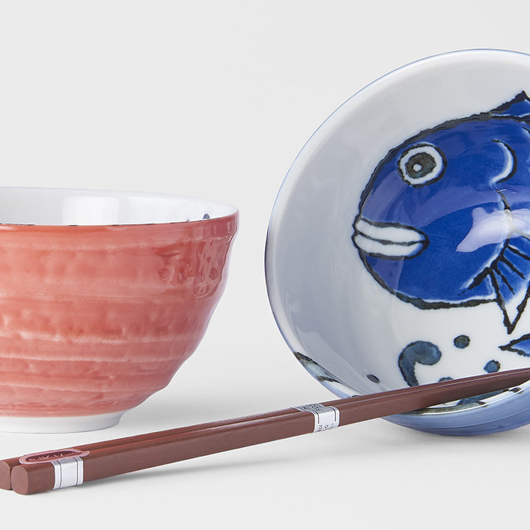 BOXED BOWL SET 2PCE MANGA FISH RED & BLUE ON WHITE