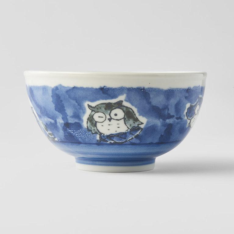 BOWL KIDS OWL DESIGN IN BLUE 16D X 9H