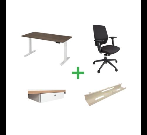 Ergonice Office Ergonomics Start-Set Op Basis Van Ergo-Start Elektrisch Verstelbaar Bureau En T2-Basic Ergonomische Bureaustoel
