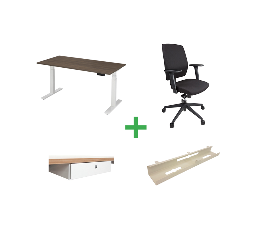 Start-Set Op Basis Van Ergo-Start Elektrisch Verstelbaar Bureau En T2-Basic Ergonomische Bureaustoel