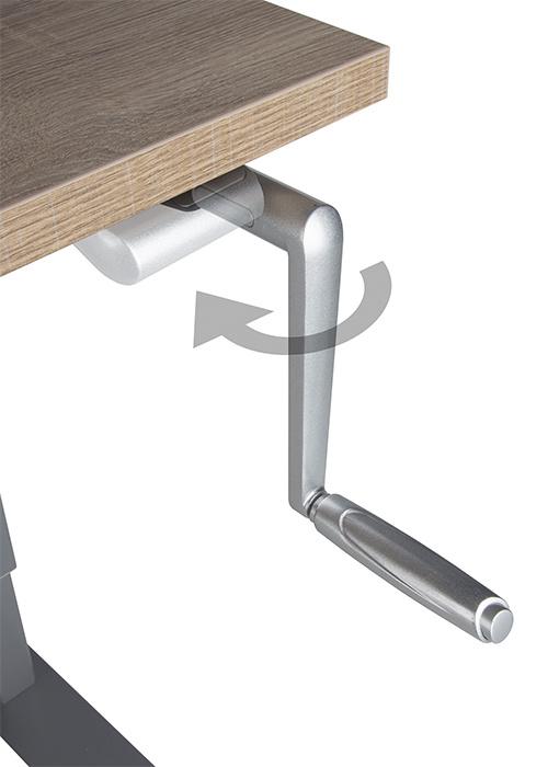 Gebruik je de handslinger van dit verstelbare bureau even niet? Dan berg je deze eenvoudig op door deze naar binnen te klappen. Zo zit de handslinger nooit in de weg.