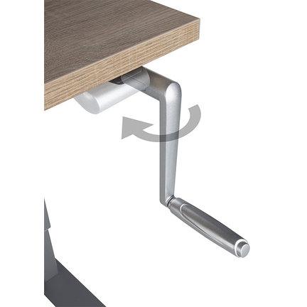 In hoogte verstelbare bureaus met handzwengel of schroeven