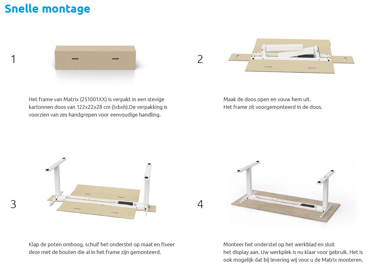 Dit zit-sta bureau is eenvoudig te monteren.