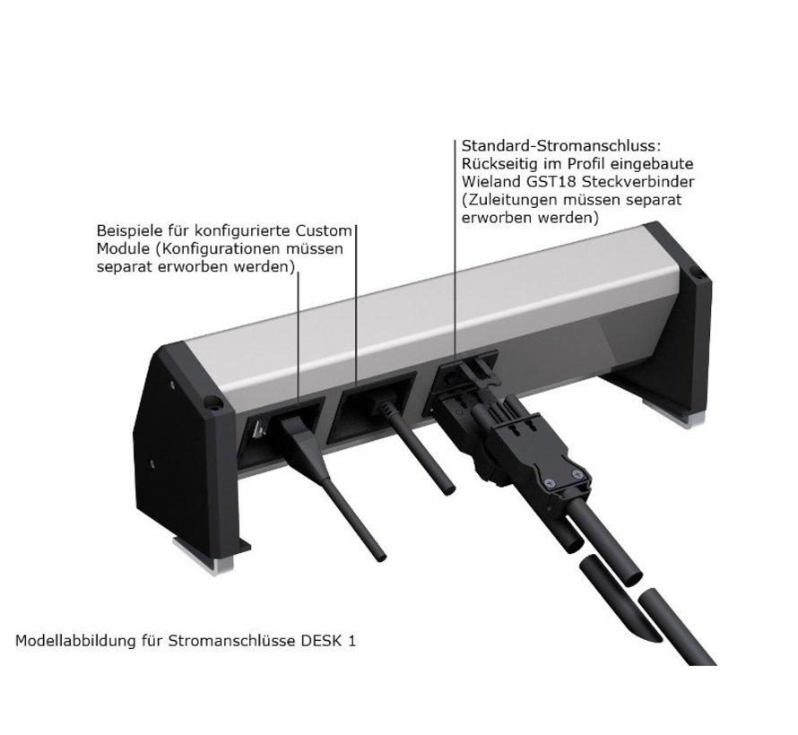 Bachmann Desk 1 Opbouw Stopcontact Met 2x 230V Stroom Aansluiting En 2 Custom Modules