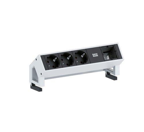 Bachmann Bachmann Desk 2 Opbouw Stopcontact Met 3x 230V Stroom Aansluiting En 1 Custom Module