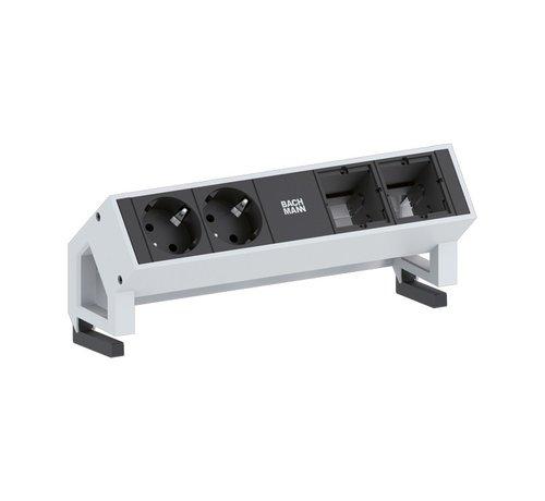 Bachmann Bachmann Desk 2 Opbouw Stopcontact Met 2x 230V Stroom Aansluiting En 2 Custom Modules