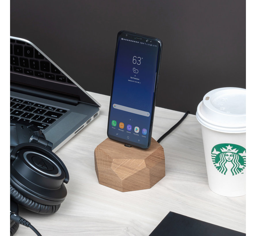 Houten Android docking station met polygoon ontwerp