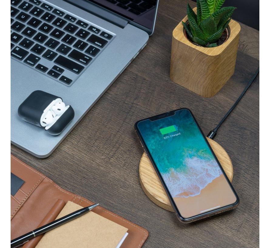 Houten draadloze telefoonlader met rond ontwerp