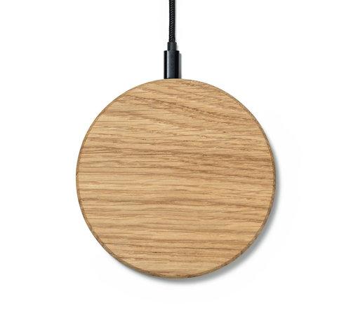 Oakywood Houten draadloze telefoonlader met rond ontwerp